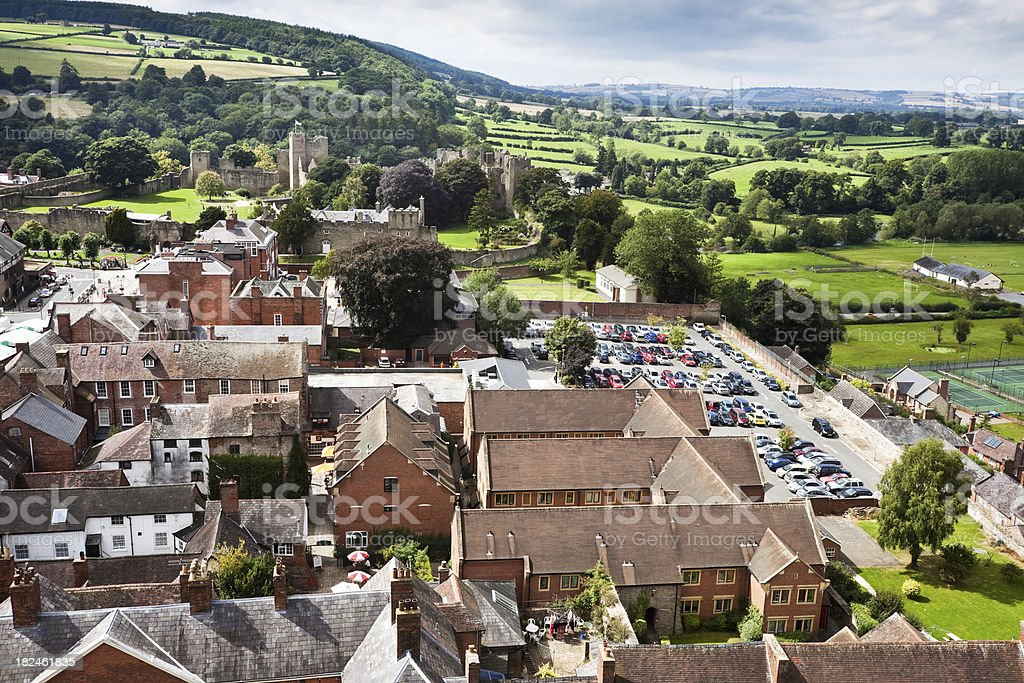 Aerial View of Ludlow and Castle in Shropshire, England. stock photo