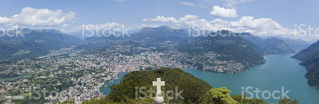 Aerial view of Lugano with lake and mountains stock photo