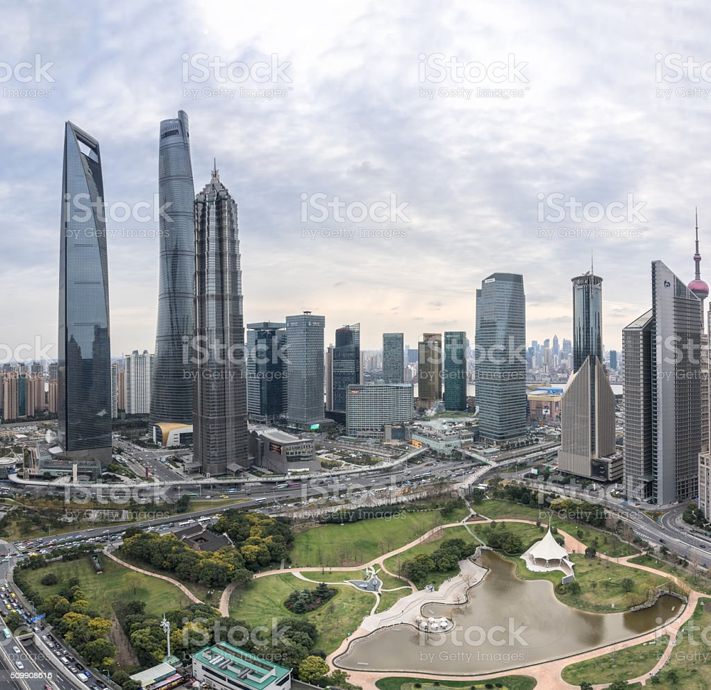 Aerial View of Lujiazui Financial District in Shanghai,China stock photo