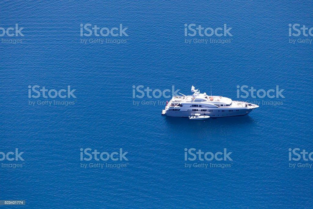 Aerial View of Luxury Motoryacht stock photo
