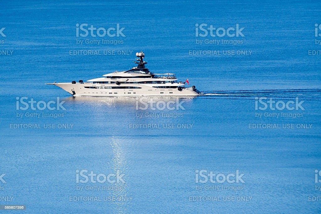 Aerial view of luxury yacht in navigation stock photo