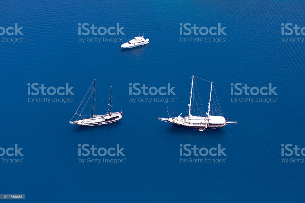 Aerial View of Luxury yachts stock photo