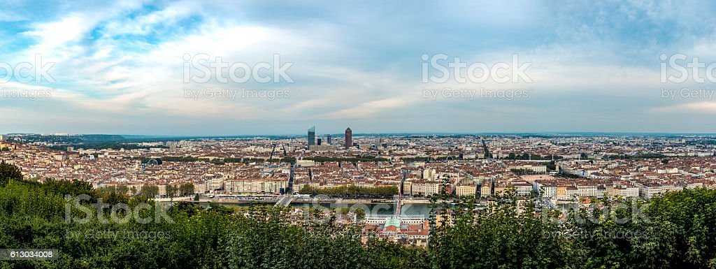 Aerial view of Lyon, the third largest city in France stock photo
