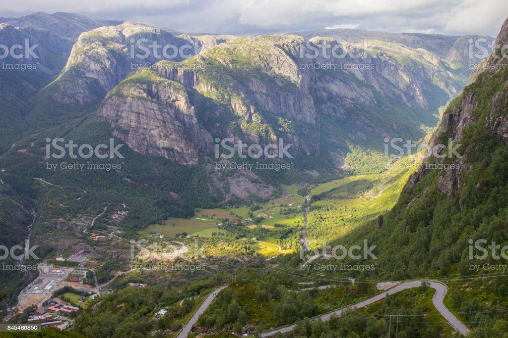 Aerial View of Lysefjord and Lysebotn from the mountain Kjerag, in Forsand municipality. stock photo