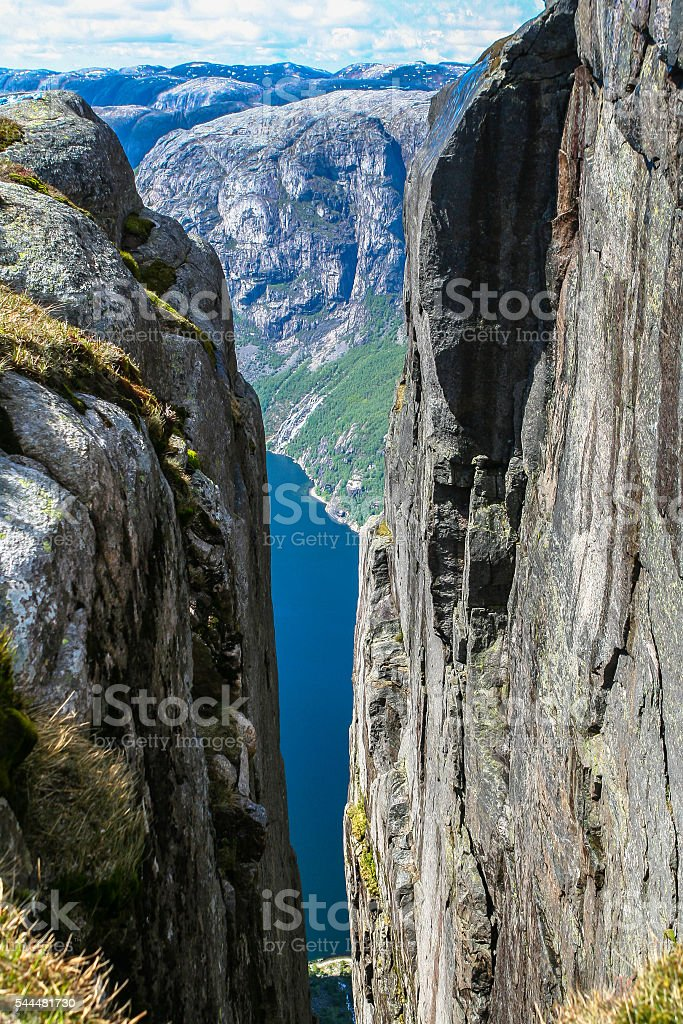 Aerial view of Lysefjorden from Kjeragbolten stock photo