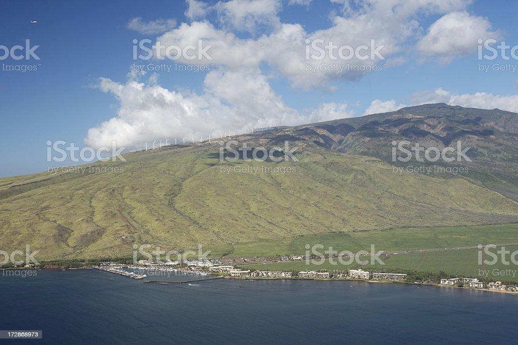 Vue aérienne de la plage de Port Maalaea & sucre photo libre de droits