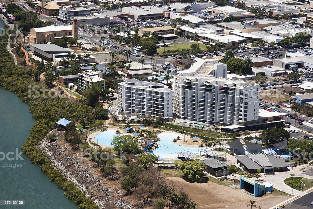 Aerial view of Mackay Bluewater Lagoon public swimming pool stock photo