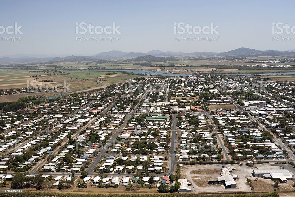 Aerial View of Mackay Queensland stock photo