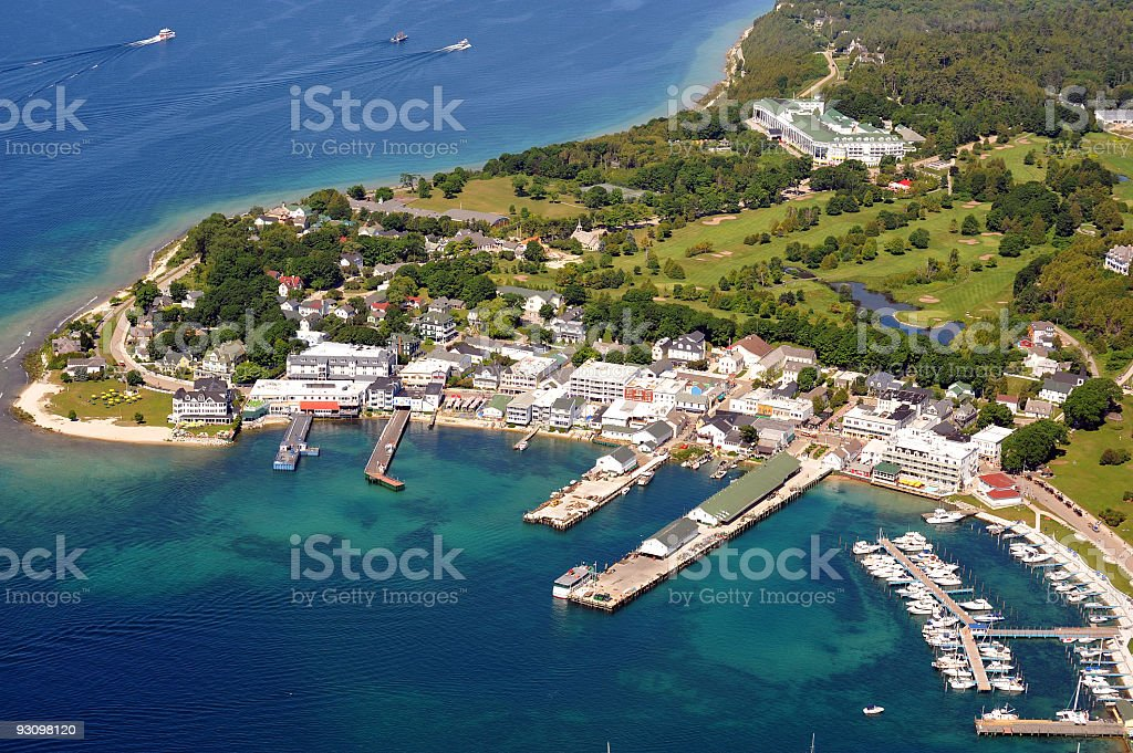 Aerial view of Mackinac Island, Michigan, USA stock photo