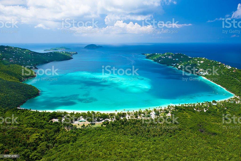 aerial view of Magens Bay, Saint Thomas, US Virgin Islands royalty-free stock photo