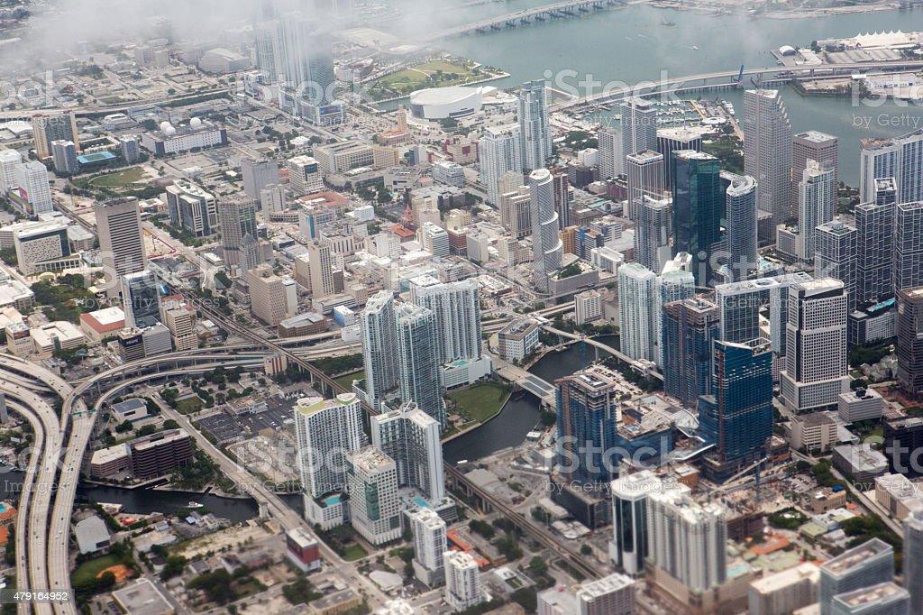 Aerial view of Maimi Florida stock photo