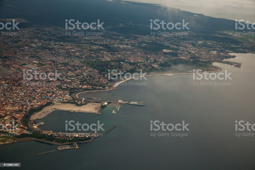 Aerial view of Malabo´s harbour and promenade stock photo