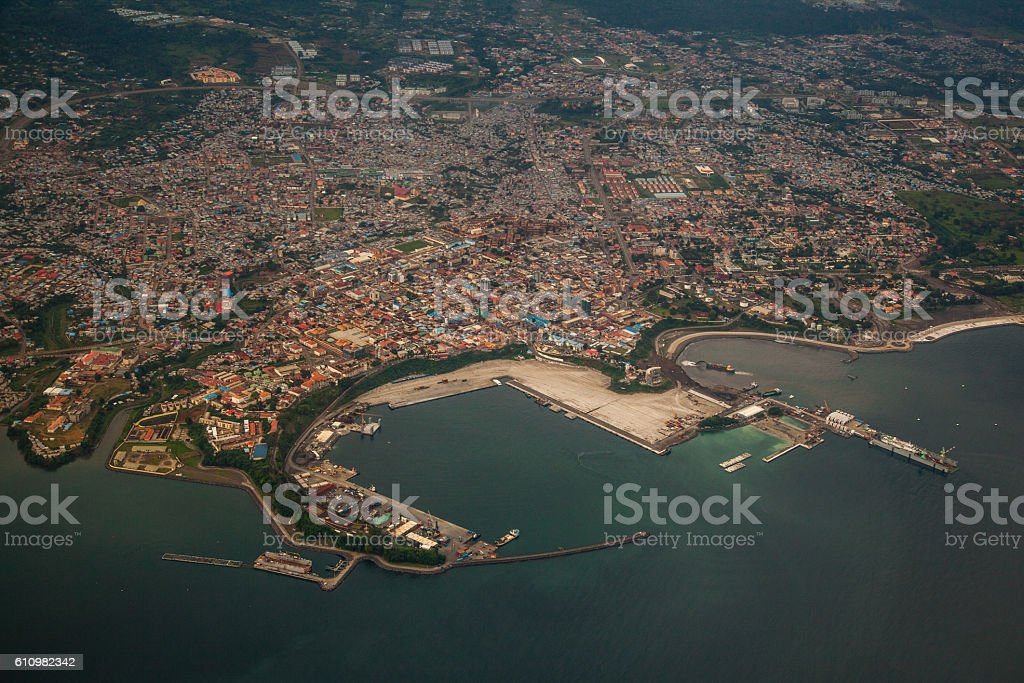 Aerial view of Malabo´s harbour stock photo