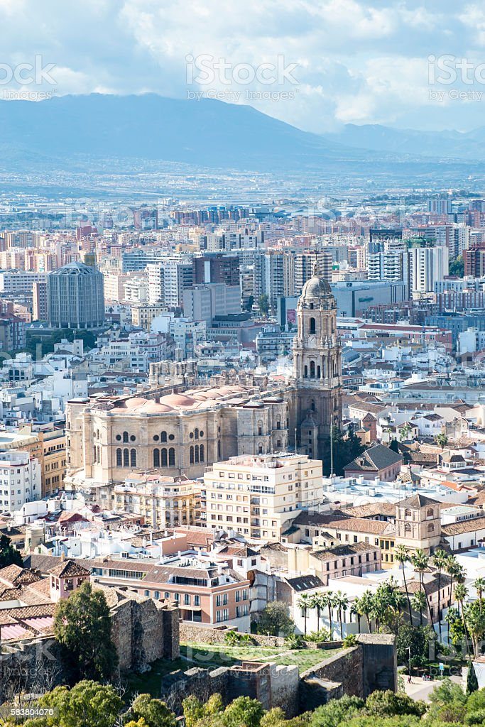 Aerial view of Malaga Cathedral from the Alcazaba citadel, Andalusia stock photo