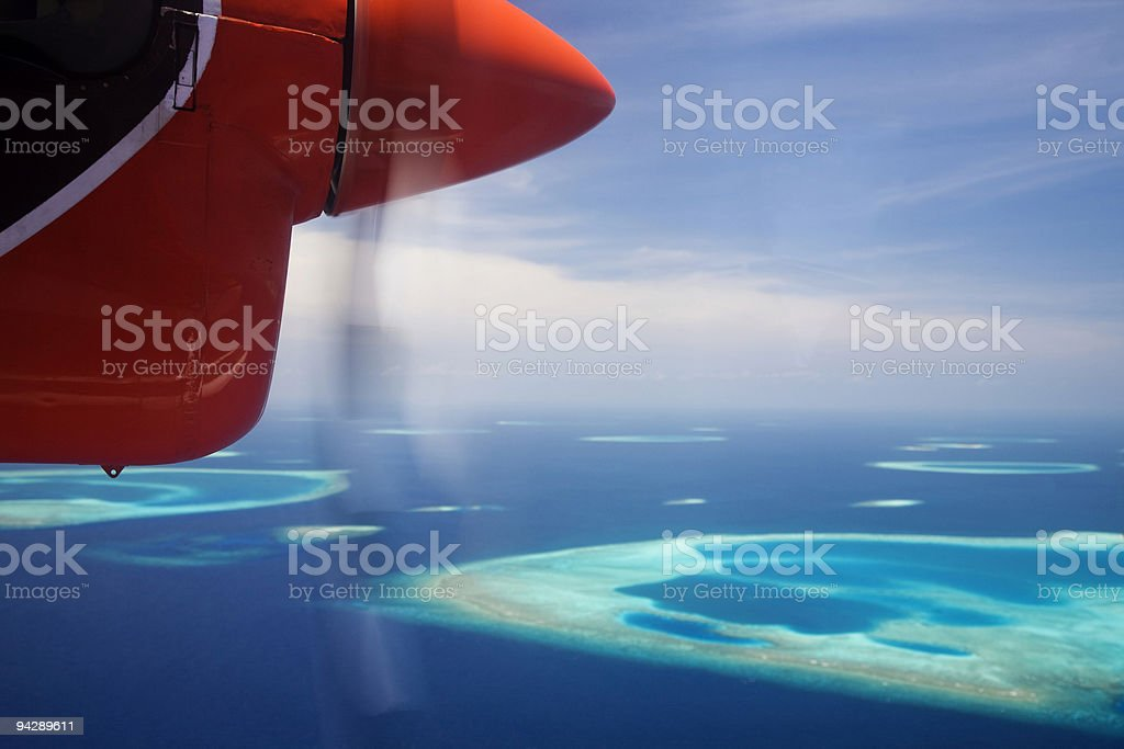 Aerial view of Maldive islands stock photo