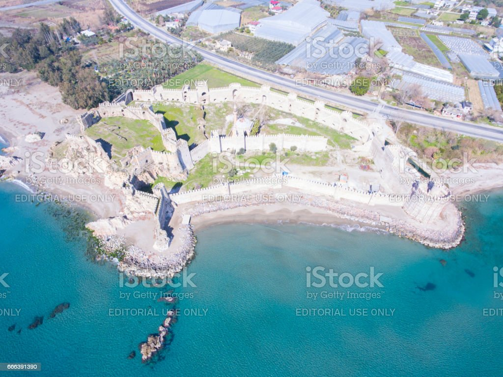Aerial view of Mamure Castle in Anamur, Turkey. stock photo