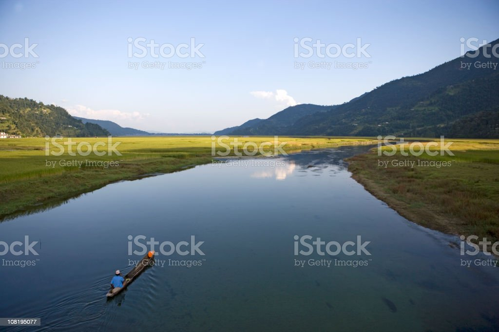Aerial View of Man in Tibet River royalty-free stock photo