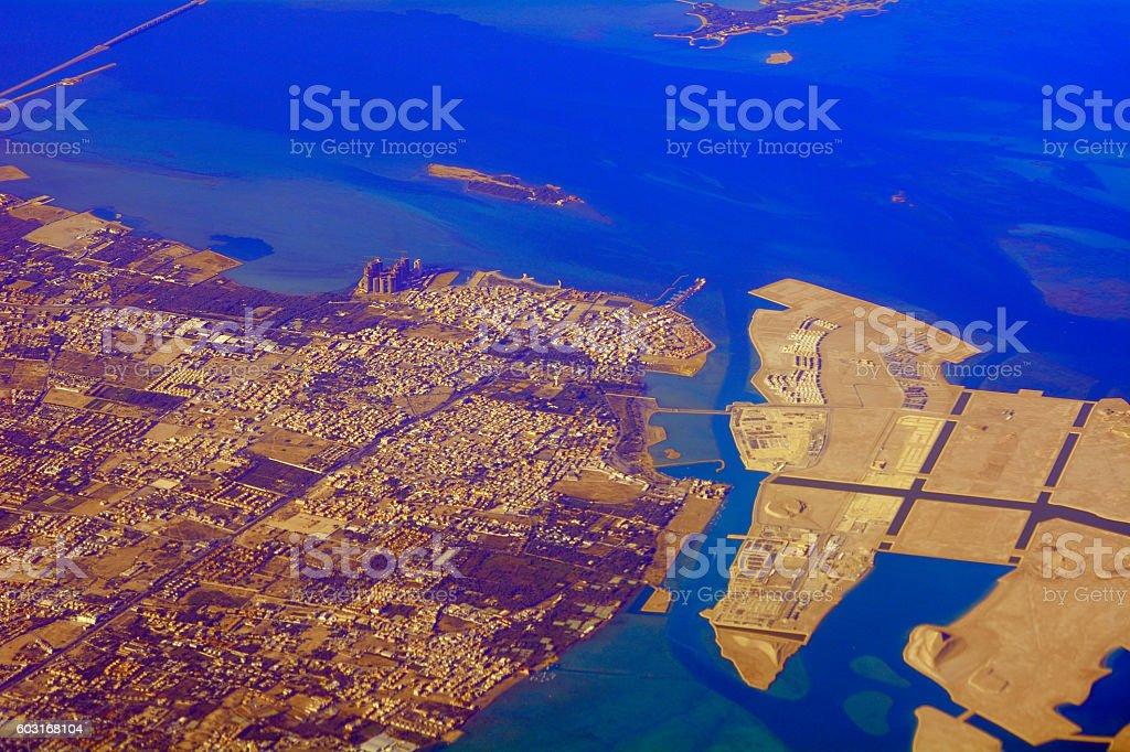 Aerial view of Manama, Bahrein stock photo