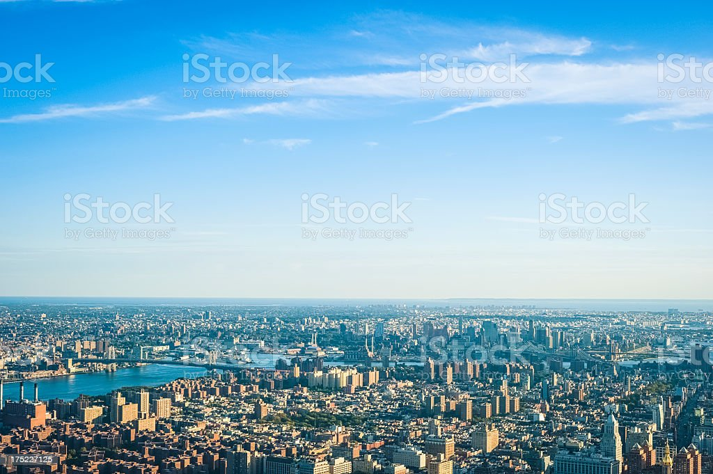 Aerial view of Manhattan and Brooklyn - New York City royalty-free stock photo