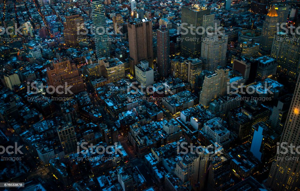 Aerial view of Manhattan in New York City, USA stock photo