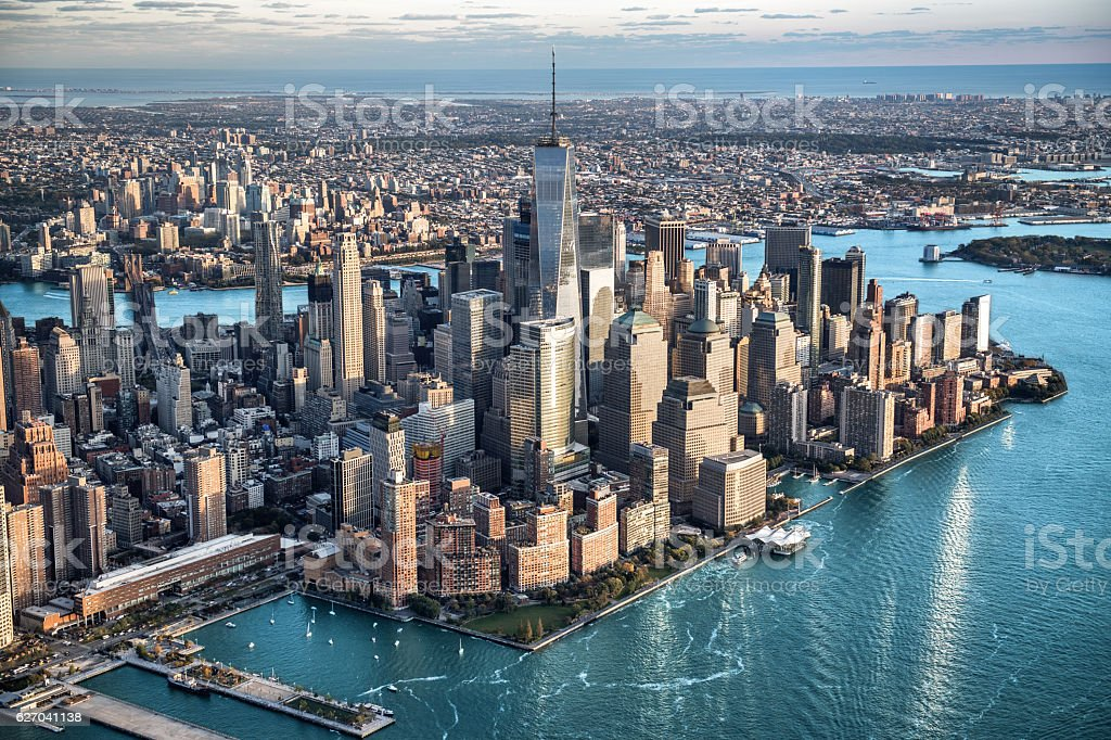 Aerial view of Manhattan in New York stock photo