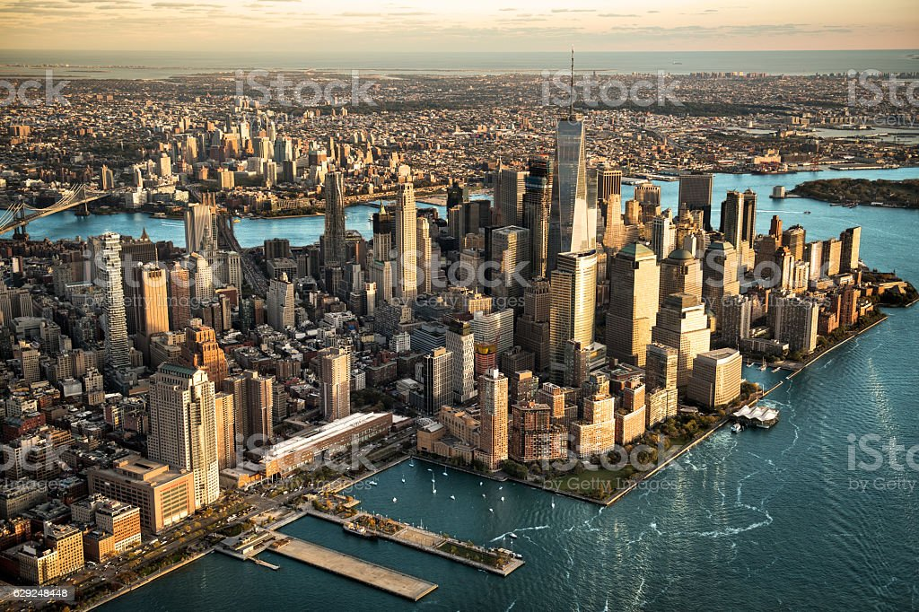 Aerial view of Manhattan island stock photo