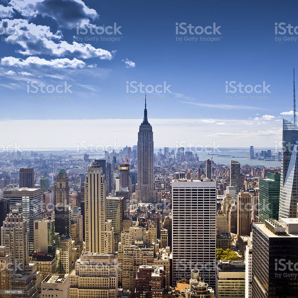Aerial view of Manhattan, New York City royalty-free stock photo