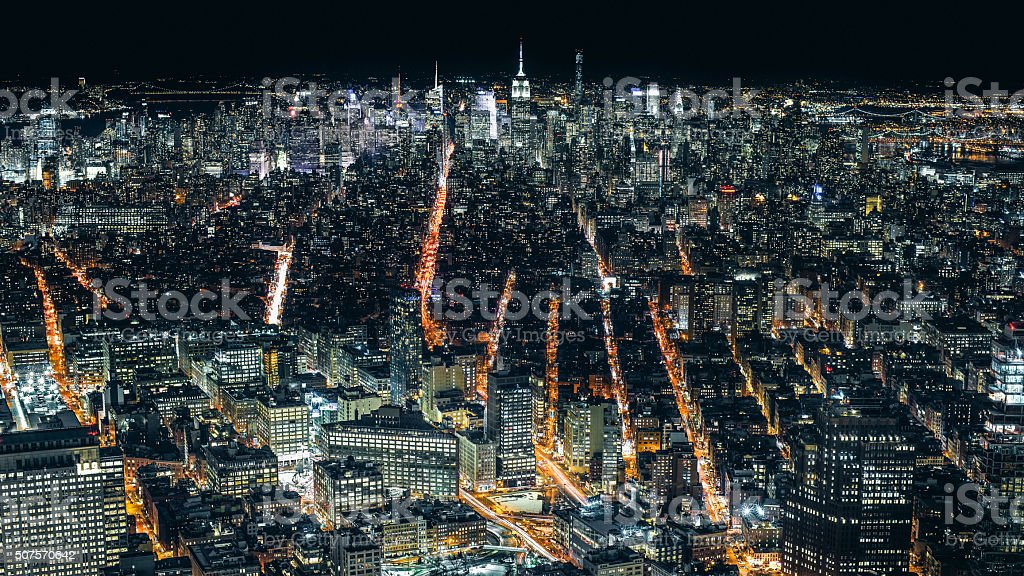 Aerial view of Manhattan NYC at night stock photo