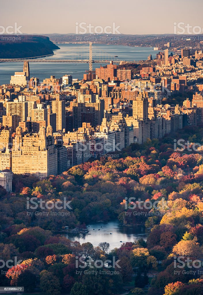 Aerial view of Manhattan skyline and the Central Park stock photo