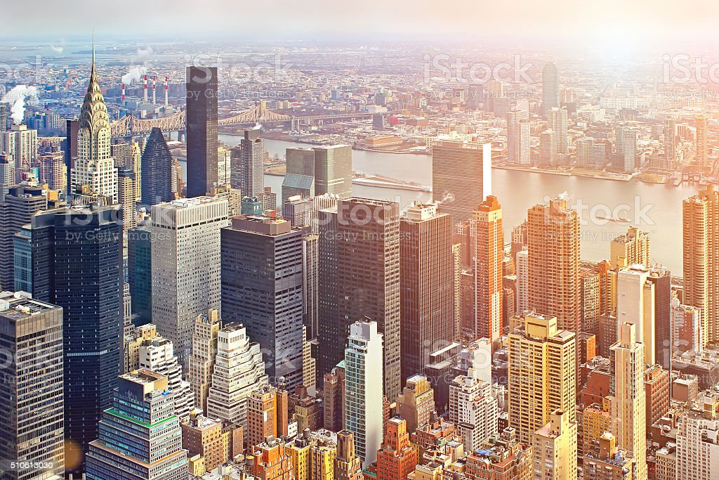 Aerial view of Manhattan skyline at sunset, New York City stock photo