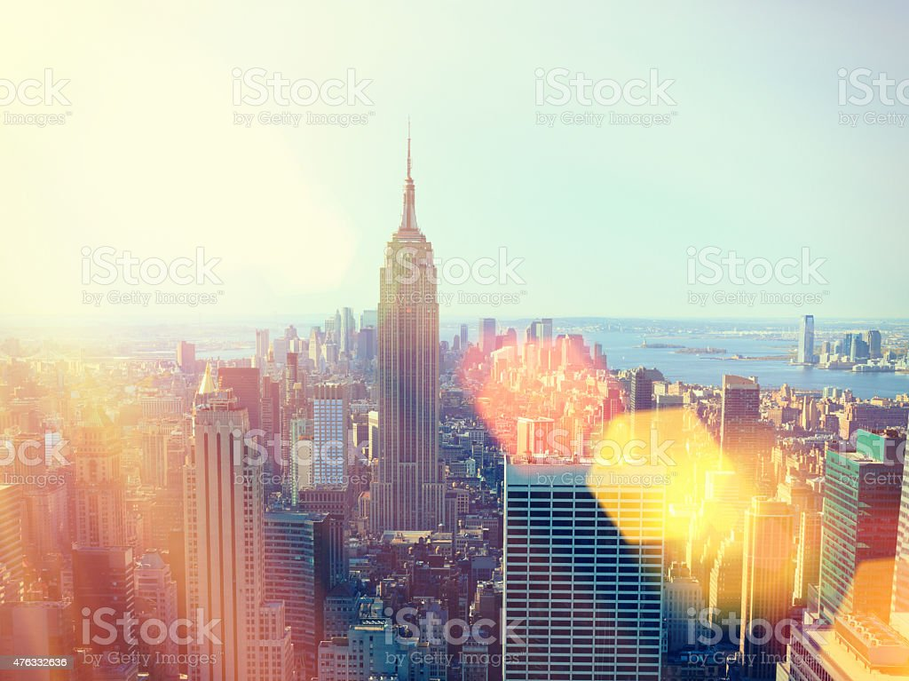 Aerial view of Manhattan with lens flare, New York City stock photo