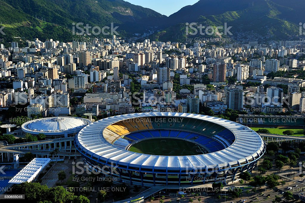 Aerial view of Maraca Stadium, Rio de Janeiro stock photo