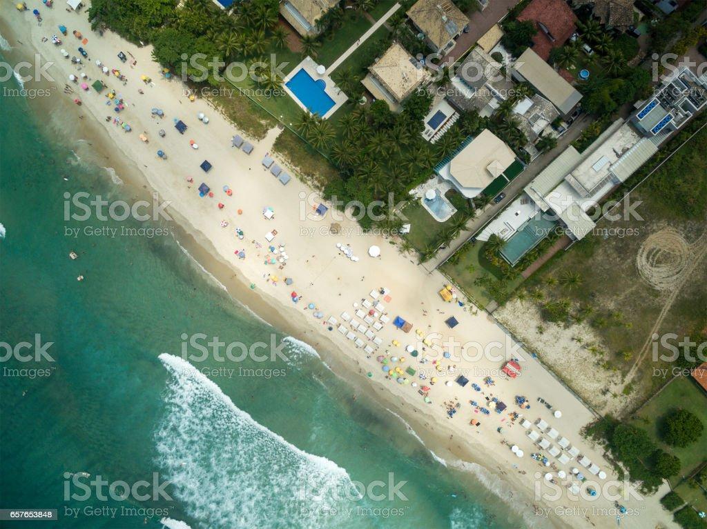 Aerial View of Maresias Beach, Sao Paulo, Brazil stock photo