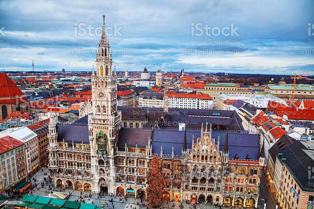 Aerial view of Marienplatz in Munich stock photo