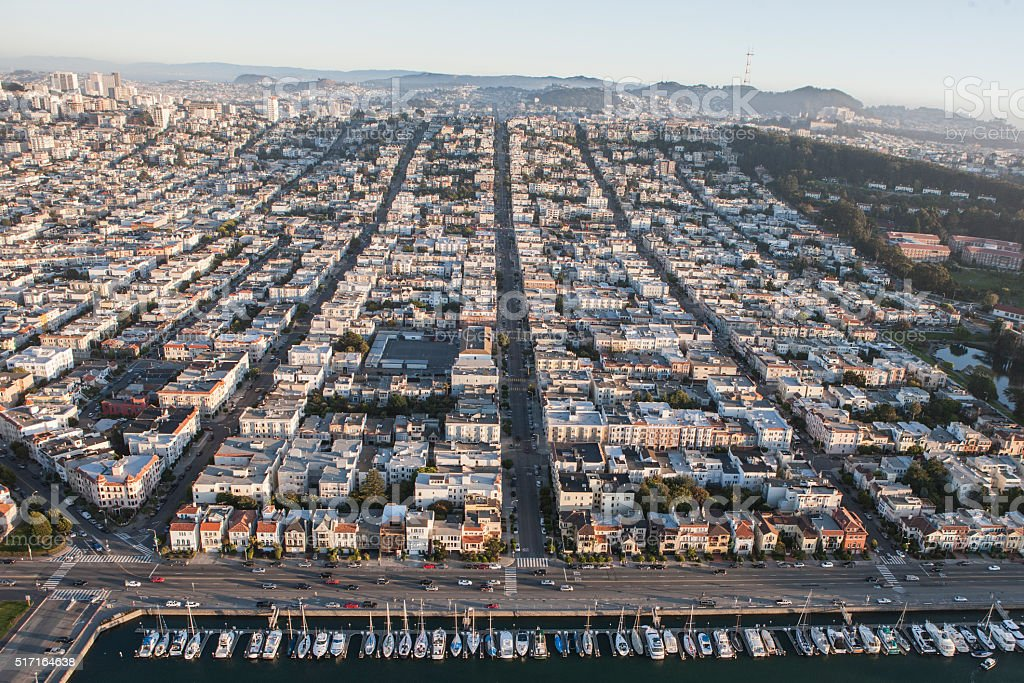 Aerial view of Marina and Cow Hollow  San Francisco stock photo