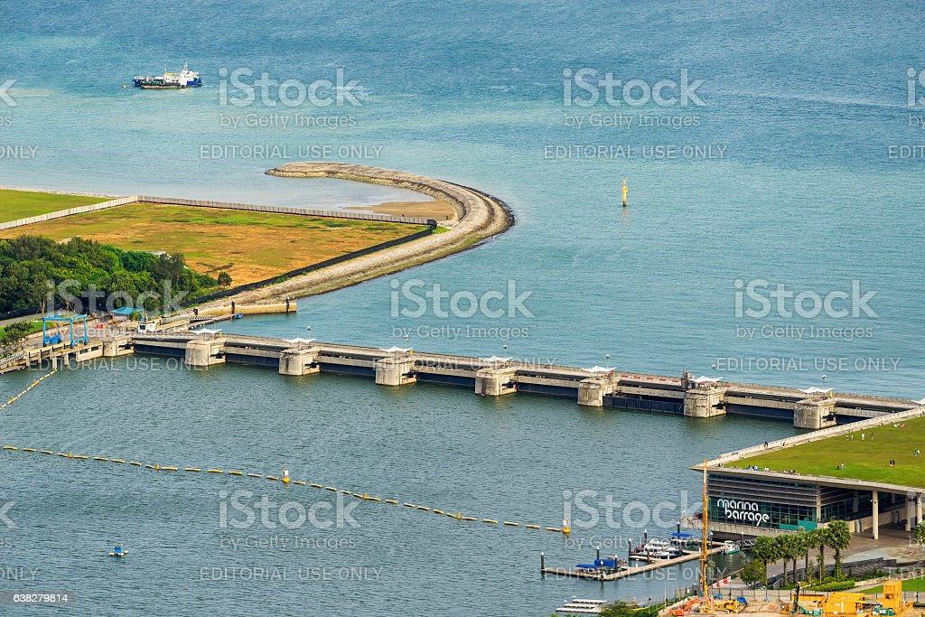 Aerial view of Marina Barrage Singapore stock photo