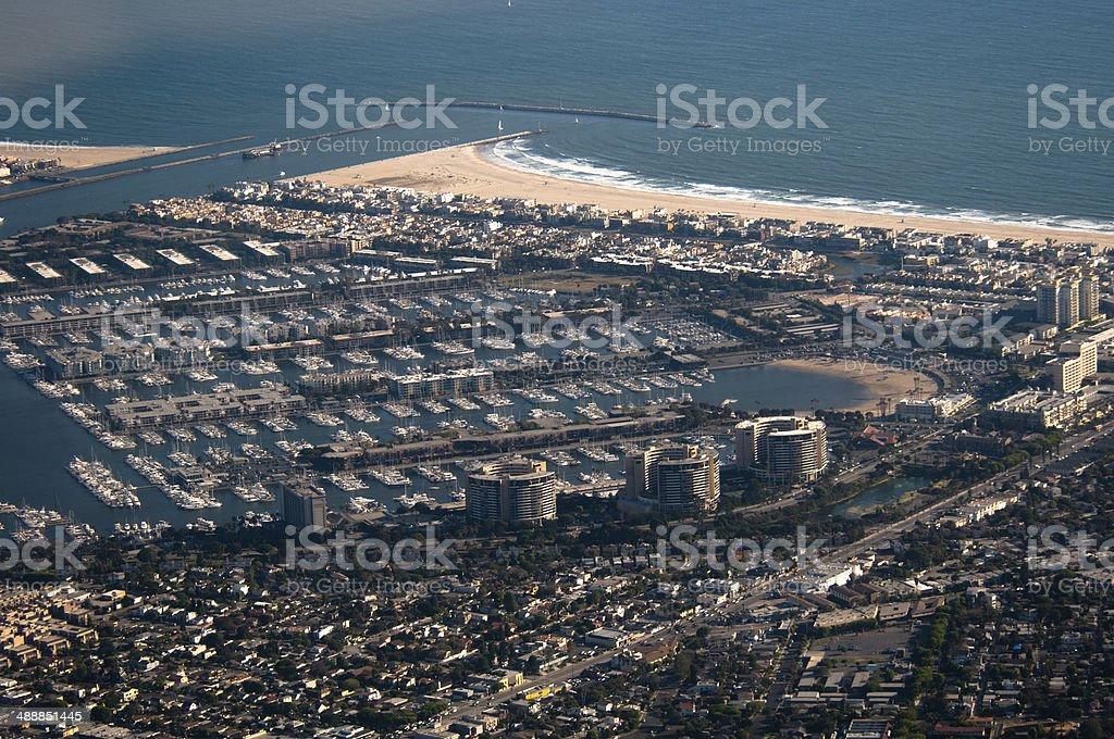 Aerial View of Marina del Rey, CA stock photo