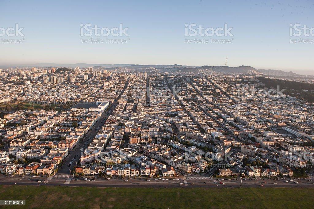 Aerial view of Marina Green, Fillmore St, Marina San Francisco stock photo