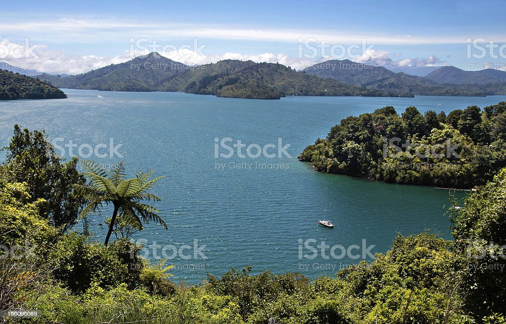 Aerial view of Marlborough sounds stock photo