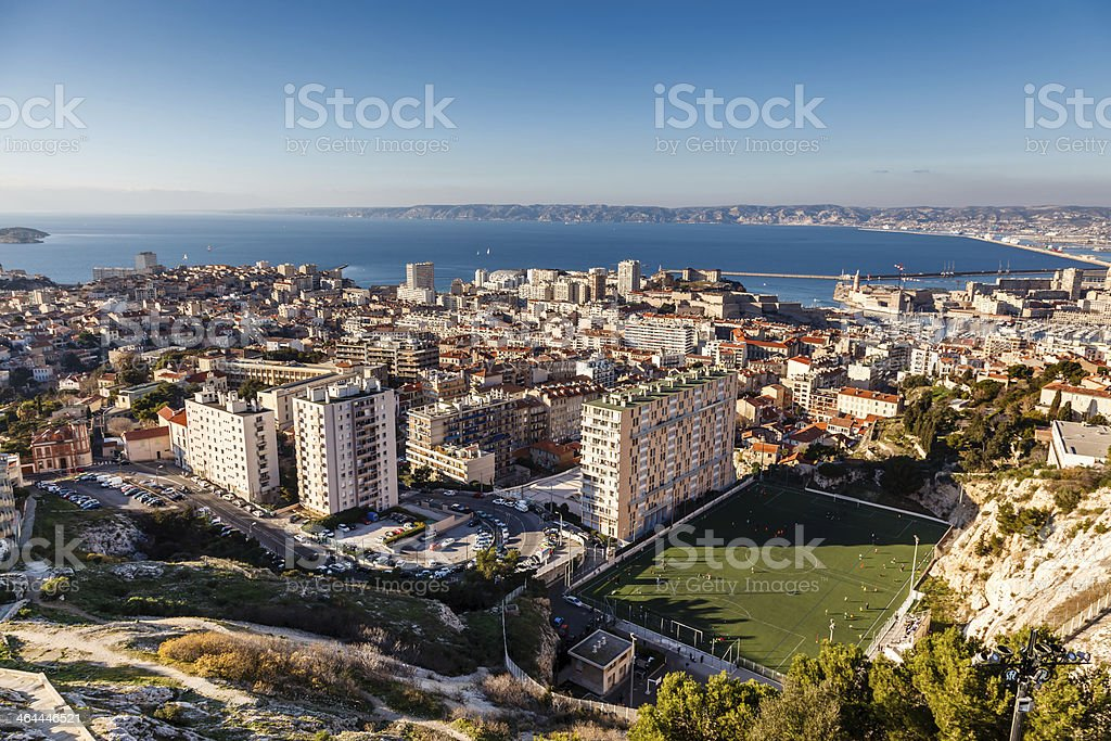 Aerial View of Marseille City and its Harbor, France stock photo