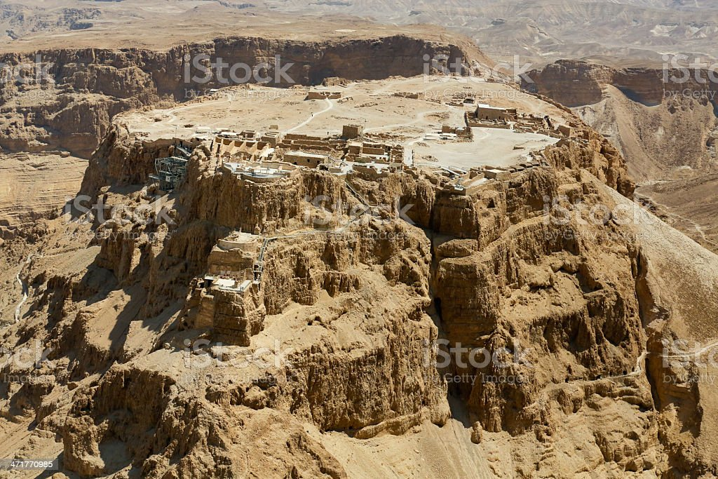 Aerial View of Masada Israel stock photo