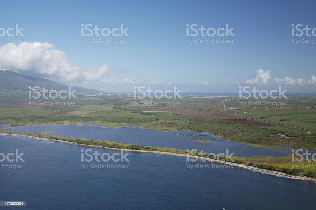 Aerial View of Maui's Kealia Pond Bird Sanctuary stock photo