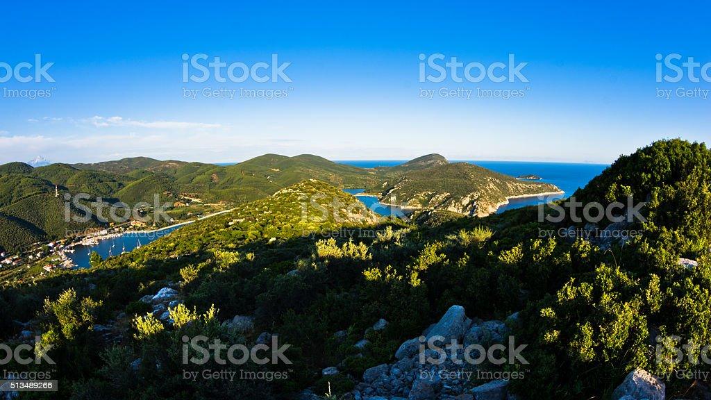 Aerial view of mediterranean coast around Porto Koufo harbor, coast of Sithonia stock photo