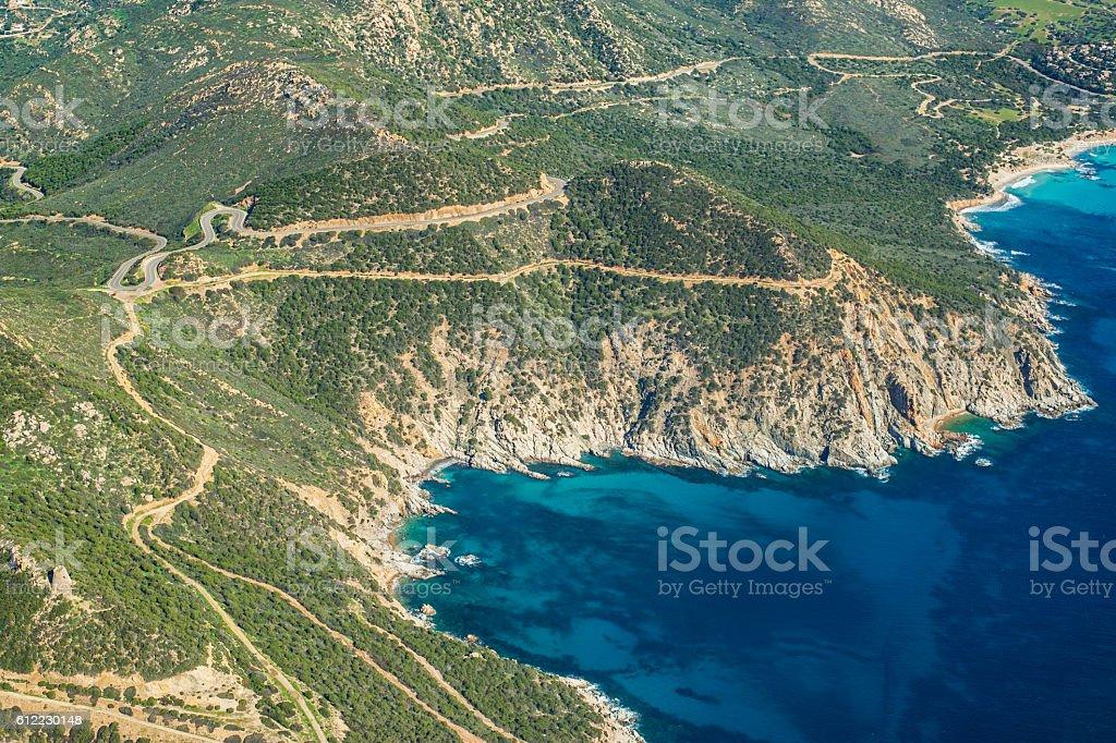 Aerial view of Mediterranean coast of Sardinia stock photo