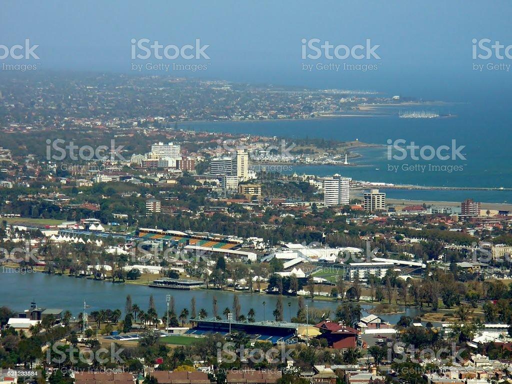 Aerial view of Melbourne, Australia stock photo