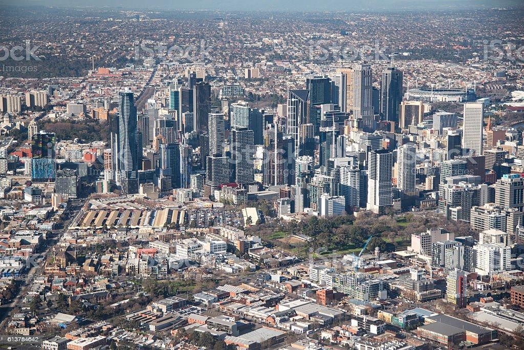 Aerial view of Melbourne city, Australia stock photo