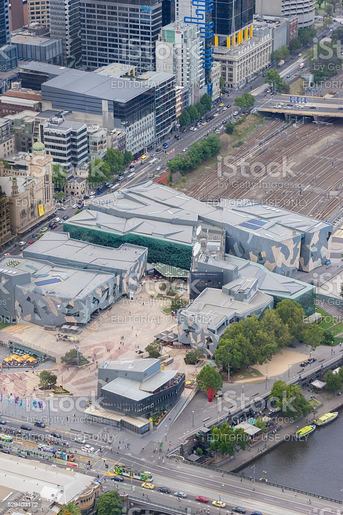 Aerial view of Melbourne cityscape stock photo