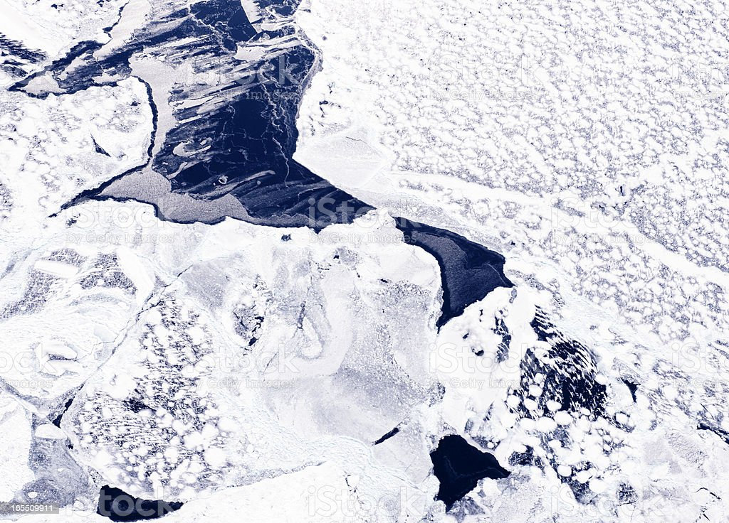Aerial View of Melting Ice Floes, Great Lakes stock photo