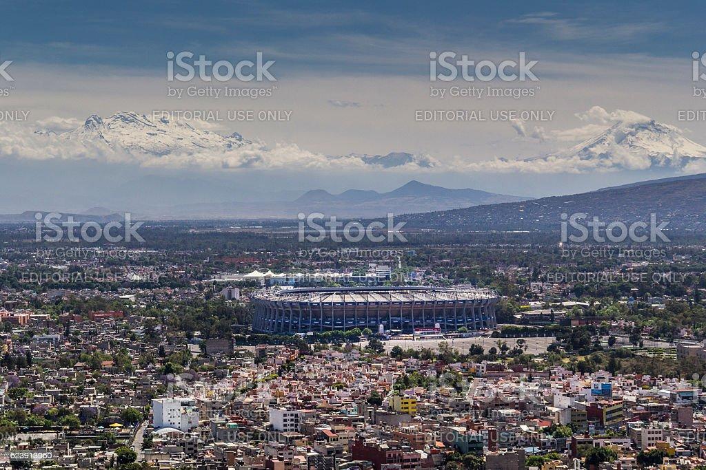 aerial view of mexico city football stadium azteca and vulcanos stock photo