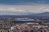 aerial view of mexico city football stadium azteca and vulcanos